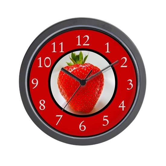 Cherry Red Strawberry Wall Clock