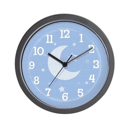 Moon Amp Stars Blue Wall Clock By Koncepts Cafepress
