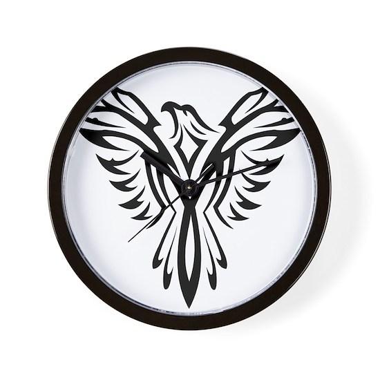 Tribal Phoenix Tattoo Bird Wall Clock By Liviana Cafepress
