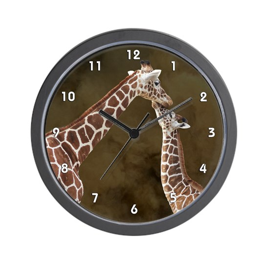 Giraffe Mom Baby Wood Clock