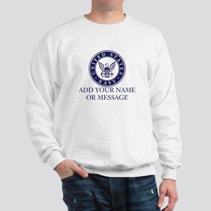 PERSONALIZED US Navy Blue White Sweatshirt