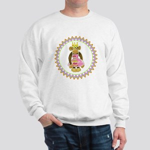 Princess Monkey Pink Cake 3 Candles Zig Sweatshirt