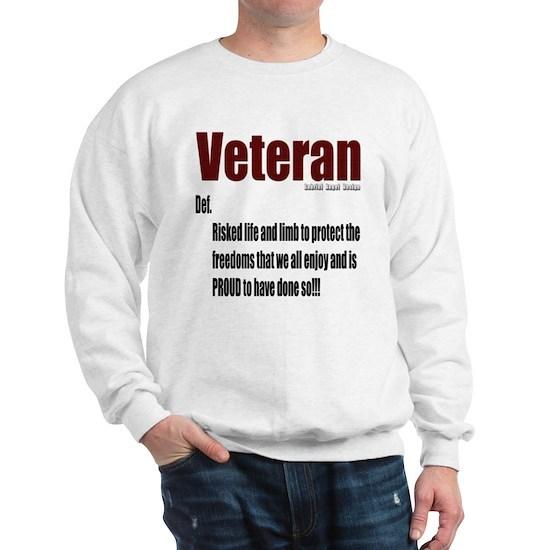 Veteran Definition branded white Sweatshirt Veteran ...