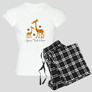 Custom Mother Daughter Giraffe Women's Pajamas