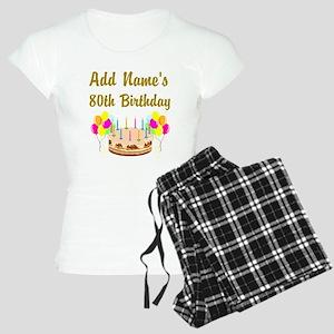 HAPPY 80TH BIRTHDAY Women's Light Pajamas