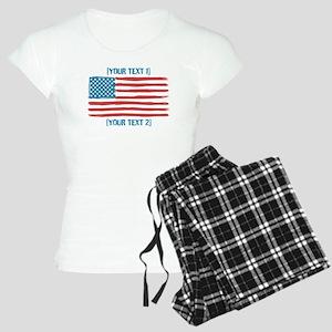 [Your Text] 'Handmade' US Flag Women's Light Pajam