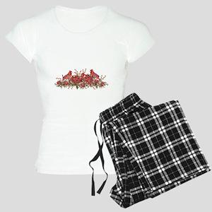 Holly, Poinsettias and Card Women's Light Pajamas