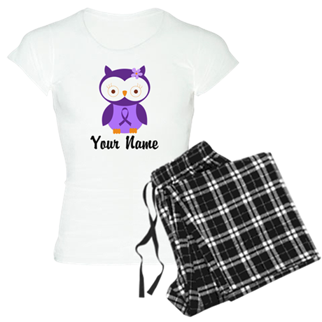 Personalized Purple Ribbon Owl Women's Light Pajam