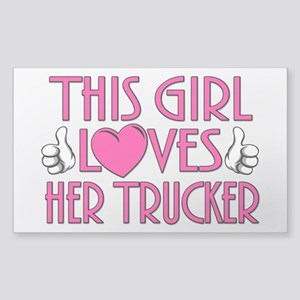 This Girl Loves Her Trucker Sticker (Rectangle)
