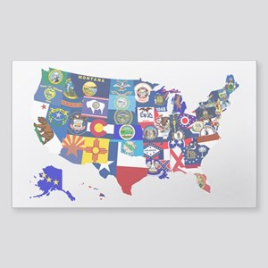USA State Flags Map Sticker