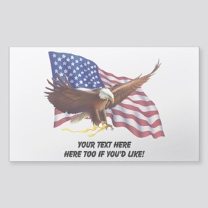 PERSONALIZED AMERICAN FLAG EAG Sticker (Rectangle)