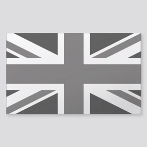 Union Jack: Black and Clear Sticker (Rectangle)