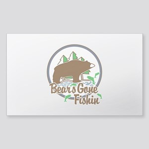 Bear's Gone Fishin' Sticker (Rectangle)