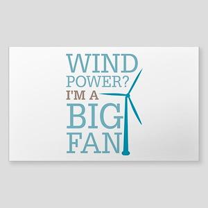 Wind Power Big Fan Sticker (Rectangle)