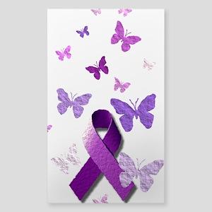 Purple Awareness Ribbon Sticker (Rectangle)
