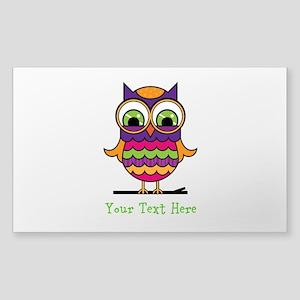 Customizable Whimsical Owl Sticker (Rectangle)