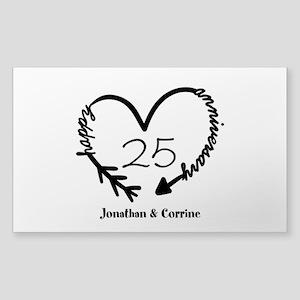 Custom Anniversary Doodle Hear Sticker (Rectangle)