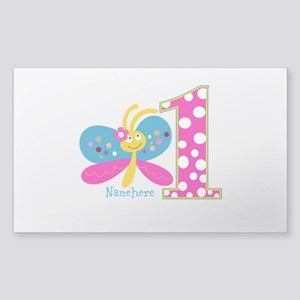 Butterfly First Birthday Sticker (Rectangle)