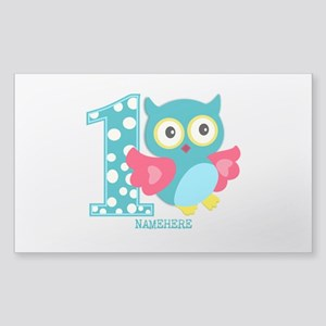 Cute First Birthday Owl Sticker (Rectangle)