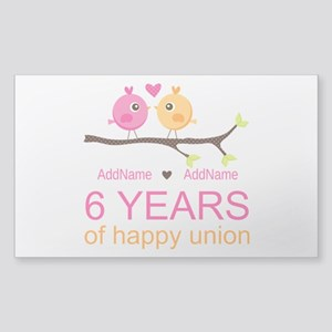6th Anniversary Personalized Sticker (Rectangle)