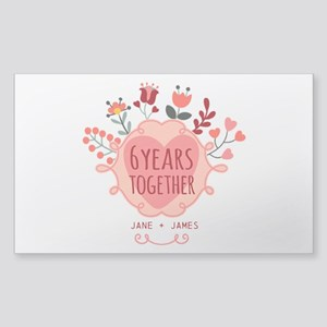 Personalized 6th Anniversary Sticker (Rectangle)