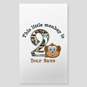 2nd Birthday Monkey Personalized Sticker (Rectangl