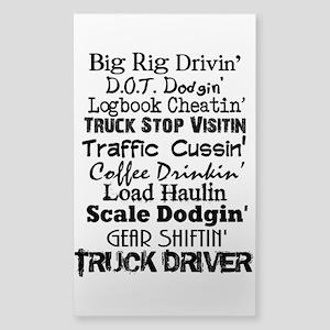 Big Rig Drivin' Sticker (Rectangle)