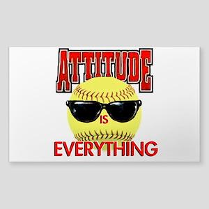 Attitude-Softball Sticker (Rectangle)