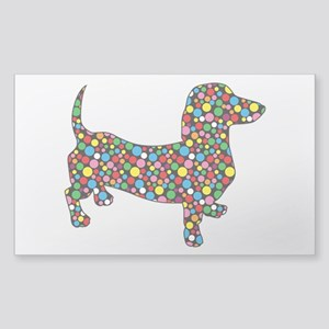 Dachshund Polka Dots Sticker (Rectangle)