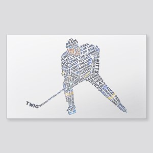 Hockey Player Typography Sticker (Rectangle)