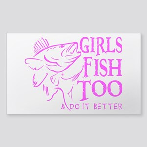 GIRLS FISH TOO WALLEYE Sticker (Rectangle)