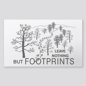 Leave Nothing but Footprints BLK Sticker (Rectangl