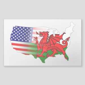 American Welsh Map Sticker (Rectangle)