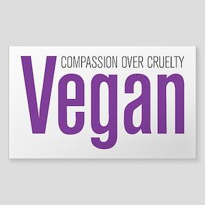 Vegan Compassion Over Cruelty Sticker (Rectangle)