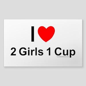 2 Girls 1 Cup Sticker (Rectangle)