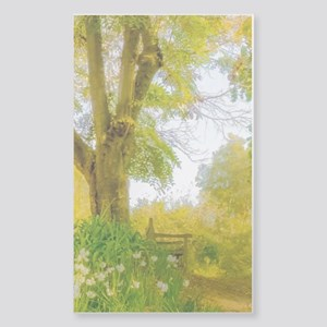 Golden Scene with Tree and Ben Sticker (Rectangle)