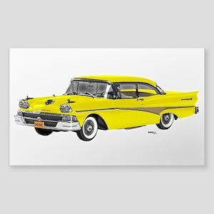 1958 Ford Fairlane 500 Yellow Sticker (Rectangle)