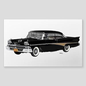 1958 Ford Fairlane 500 Black Sticker (Rectangle)