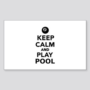 Keep calm and play pool billia Sticker (Rectangle)