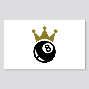 Eight ball billiards crown Sticker (Rectangle)