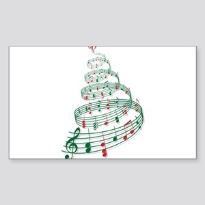 Christmas tree with music notes and heart Sticker