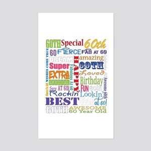 60th Birthday Typography Sticker (Rectangle)