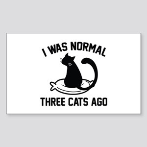 I Was Normal Three Cats Ago Sticker (Rectangle)