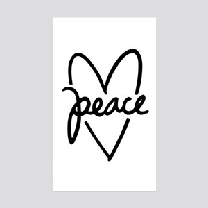 Peace Heart Sticker (Rectangle)