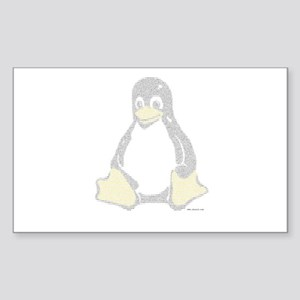 Ascii Linux Tux in color Rectangle Sticker
