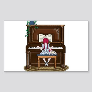 Little Girl Practicing Piano Sticker