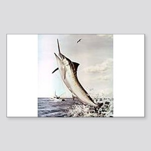 Striped Marlin Sticker (Rectangle)