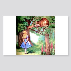 Alice and the Cheshire Cat Sticker (Rectangle)