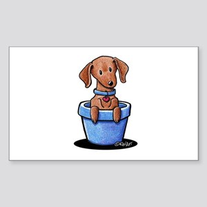 KiniArt Potted Doxie Sticker (Rectangle)