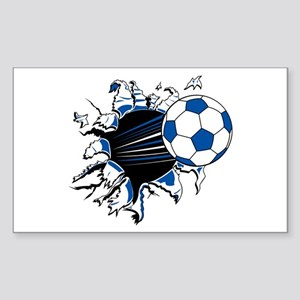 Soccer Ball Burst Rectangle Sticker
